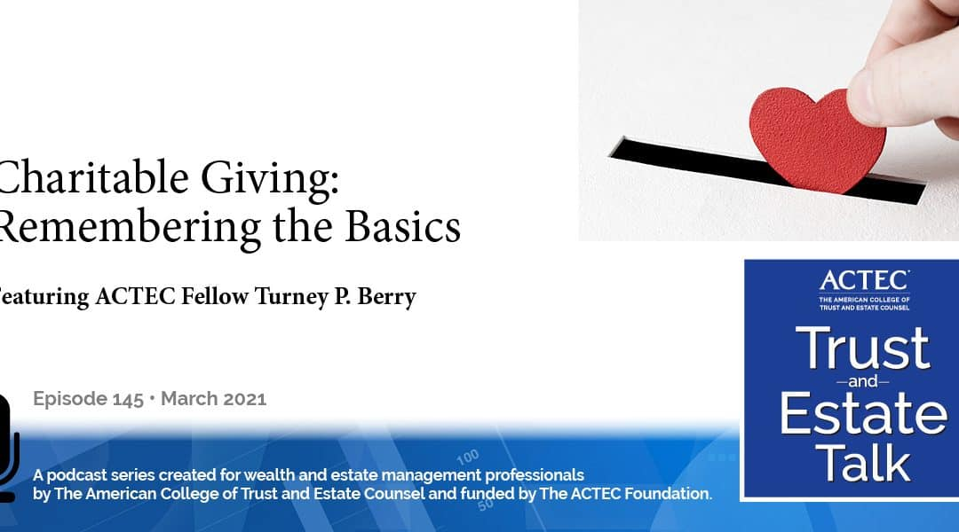 Charitable Giving: Remembering the Basics