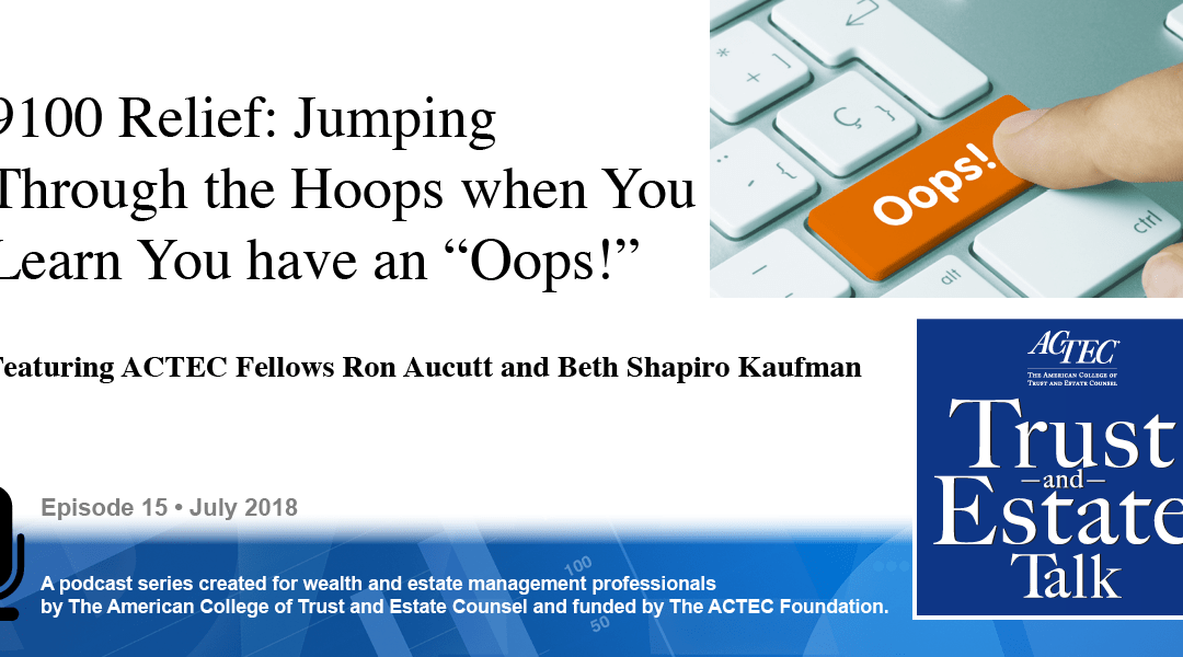 "9100 Relief: Jumping Through the Hoops When You Learn You have an ""Oops!"""