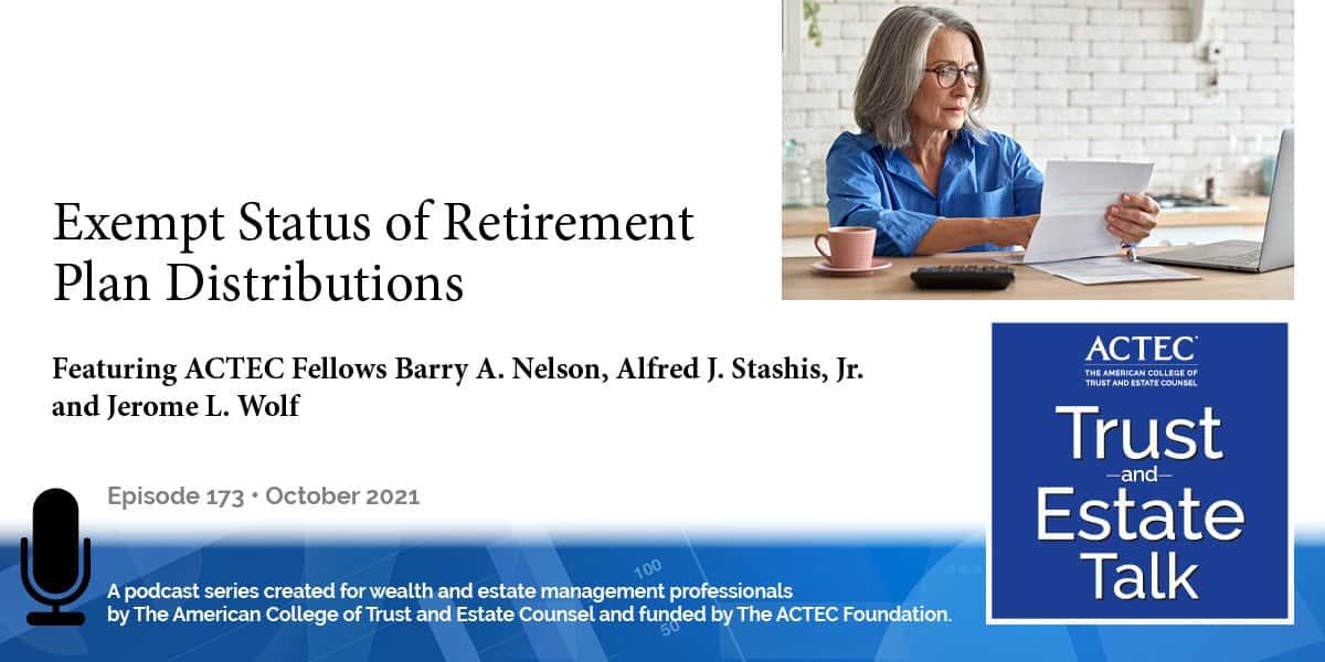 Exempt Status of Retirement Plan Distributions