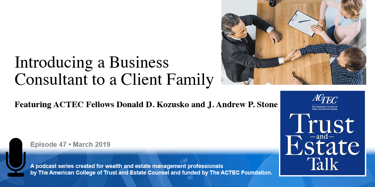 Introducing a Business Consultant to a Client Family