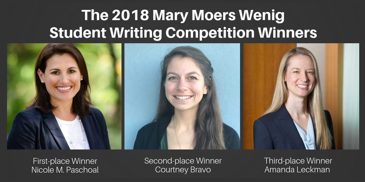 2018 Mary Wenig Student Writing Competition Winners